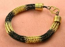 """Flight of the Bumblebee"" Two-Tone Viking Knit Bracelet"