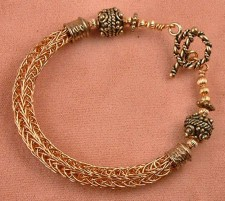 Copper Viking Knit Bracelet With Toggle Clasp