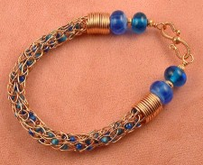 """Blue Waters"" Viking Knit Chain With Beads"
